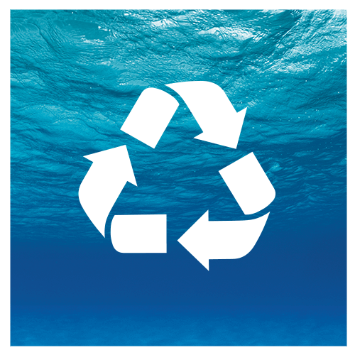recycle icon over blue ocean